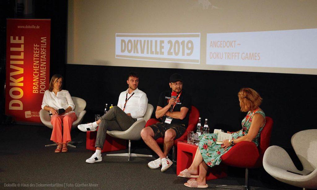 """Panel """"Angedokt"""" mit Dörthe Eickelberg bei Dokville 2019 Doku trifft Games"""
