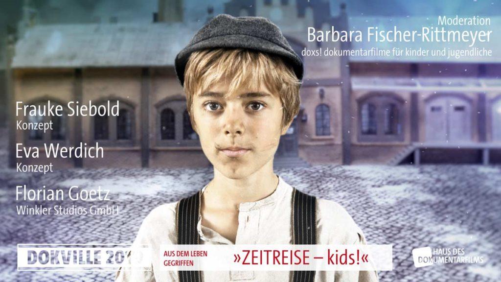 """Poster zum Panel """"Zeitreise - kids!"""" bei Dokville 2019 © HDF"""