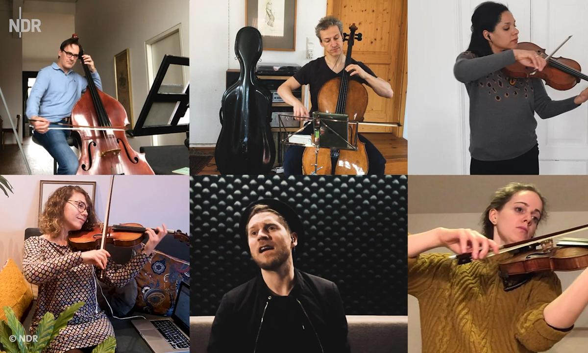 NDR Kultur trotz Corona: Blick auf sechs Musiker*innen, die trotz Corona im Homeoffice weiter musizieren (© NDR)