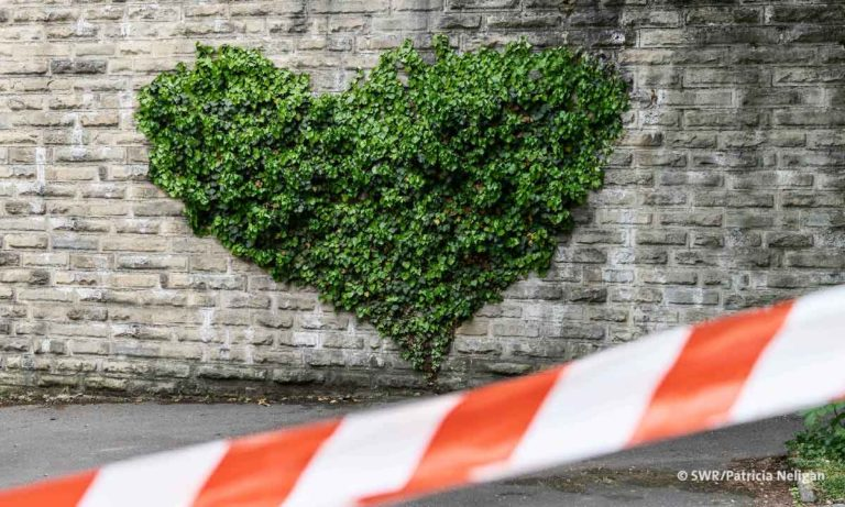 Liebe in Zeiten von Corona: Herzförmiger Baum hinter Absperrband (© SWR / Patricia Neiligan)