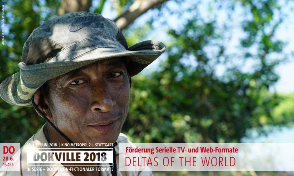 """DOKVILLE 2018: Filmstill von """"Deltas of the World"""": Mann vor Regenwaldkulisse (© Filmtank)"""