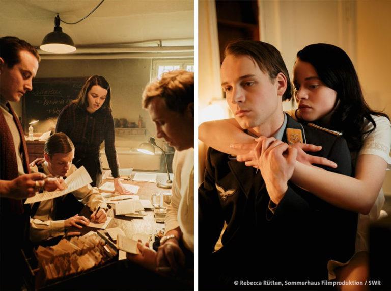 Ich bin Sophie Scholl, Szenisch: Sophie mit der Widerstandsgruppe, linkes Bild, und mit ihrem Freund in Uniform, rechtes Bild (Rebecca Rütten, Sommerhaus Filmproduktion, SWR)