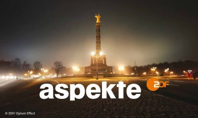 Logo der Sendung ZDF aspekte: Foto des Friedensengels bei Nacht (© ZDF/Opium Effect)